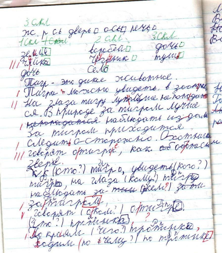 Пример работы ребенка с дисграфией (3 класс)
